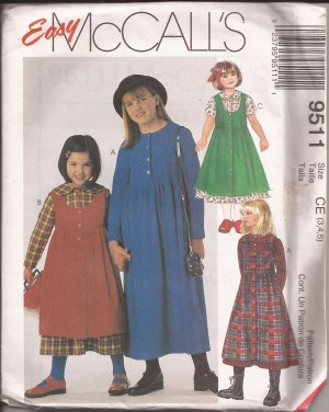 McCalls 9511 (1998) Button Bodice Round Scoop Neck Dress Jumper Pattern Size 3 4 5 UNCUT