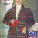 Butterick 3617 (1994) Button Front Jacket Coat Collar Patch Pockets Pattern Size XS S M UNCUT