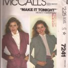 McCalls 7241 (1980) Raised Neckline Gathered Shoulder Seam Jacket Pattern Size Medium 14 16 CUT