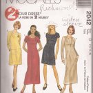 McCalls 2042 (1999) Bateau Neck Long Short Raglan Sleeve Dress Pattern Size 12 14 16 PART CUT