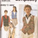 Simplicity 9279 (1996) Lined Vest Button Trim Variations Pattern Size 6 8 10 12 PART CUT