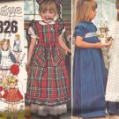 Vogue 1326 Childs Girls Long Short Dress Three  Pinafore VariatonsPattern Size 5 PART CUT