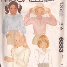 McCalls 6883 (1979) Childs Girls Zip Back Cuffs Neckband Collar Jabot Blouse Pattern Size 6 CUT
