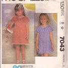 McCalls 7043 (1980) Childs Girls Dress Sleeve Neck Drawstring Elastic Waist Pattern Size 2 CUT