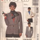 McCalls 3872 (1988) Unlined One Button Jacket Front Back Darts Patch Pockets Pattern Size 10 12
