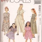 McCalls 6901 (1994) Girls Loose Fit Empire Waist Jumpsuit Dress Pattern Size 7 8 10