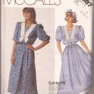 McCalls 3087 (1987) Pullover Dress Dickey Flared Skirt Sleeve Variations Pattern Size 8 10 12 CUT