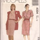McCalls 4334 (1989) Unlined Jacket Dress Concealed Button  Elastic Waist Pattern Size 10 CUT