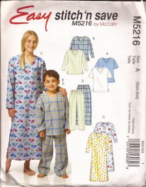 McCalls 5216 (2006) Childs Boys Girls Sleep Top Pants Nightshirt Pattern Size XS 3-4 S 5-6 PART CUT