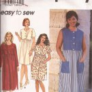 Simplicity 7152 (1996) Button Front Raised Waist Back Ties Dress Pattern Plus Size 18W 20W 22W 24W