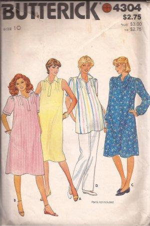 Butterick 4304 Maternity Dress Tunic Front Tucks Collar Sleeve Variation Pattern Size 10 CUT