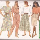 Butterick 4740 (1990) Top Tapered Skirt Culottes Pants Elastic Waist Pleats Pattern PART CUT