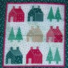 "Country Christmas Tree House Quilt Look Pillow Wall Hanging Panel Fabric Set of 2 14""W x 15L"""