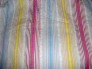 Pink Blue Yellow White Stripe Cotton Blend Fabric