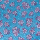 Blue Background White Dots Red Pink White Flowers Fabric
