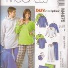 McCalls 4675 (2004) Unisex Shirt Pull-on Jacket Hoodie Pants Socks Blanket Pattern Size XS S M UNCUT