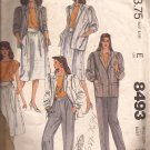 McCalls 8493 (1983) Top Jacket Pleated Skirt Pants Shaped Waistband Pattern Size 12 PART CUT