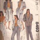 McCalls 8493 (1983) Top Jacket Pleated Skirt Pants Shaped Waistband Pattern Size 12 PART CUT