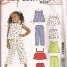 McCalls 4341 (2004) Child Girls Top Shoulder Straps Shorts Pants Pattern Size 3 4 CUT