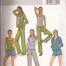 Butterick 4198 (2004) Jacket Hoodie Tank Top T-Shirt Shorts Drawstring Pants Pattern CUT