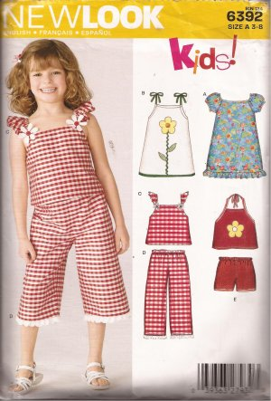 New Look 6392 Girls Tie Halter Puff Ruffle Sleeve Top Dress Pants Shorts Pattern Size 3-8 PART CUT