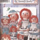 "Simplicity 9447 (2000) Raggedy Ann Andy 15"" 26"" 36"" Dolls Clothes Pattern UNCUT"