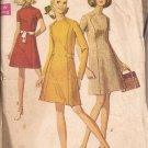 Simplicity 8491 (1969) Vintage Topstitched Dress Front Seam Button Trim Pattern Size 14 CUT