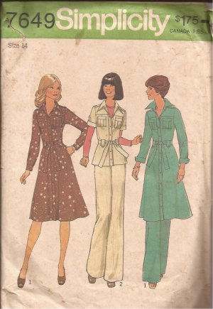 Simplicity 7649 (1976) Vintage Dress Top Pleat Pockets Carriers Button Tab Pants Pattern Size 14 CUT