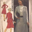 Simplicity 6555 (1974) Vintage Vest Dress Bias Skirt Stretch Knits Only Pattern Size 18 CUT
