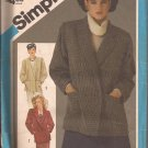 Simplicity 6547 (1984) Vintage Lined Double Breasted Jacket Pattern Size 12 UNCUT