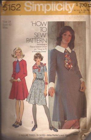 Simplicity 5152 (1972) Vintage Princess Seam Round Neck Back Zip Dress Pattern Size 18 CUT