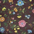 Vintage Home Decor Fabric Blue Rose Yellow Orange Green Floral on Brown