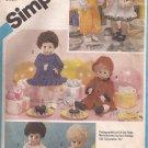 Simplicity 6481 (1984) Doll Clothes Dress Pinafore Panties Coat Shirt Overalls Jumper Romper Pattern