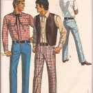 Simplicity 8300 (1969) Vintage Mens Western Shirt Vest Pants Jeans Pattern Size 32 PART CUT