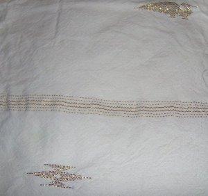 White Cotton with Metallic Gold Stripes Bird Chevron Native Look Fabric