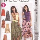 McCalls 6567 (2012) Elastic Waist Skirts Shaped Hem Mock Wrap Pattern 16 18 20 22 24 26 UNCUT