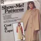McCall's Vintage (1977)  Show Me! Sleeveless Coat Cape Pattern 5753 Size 8 10 12 UNCUT