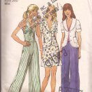 Simplicity 5689 (1973) Vintage Unlined Jacket Halter Mini Skirt Wide Leg Pants Pattern Size 12 UNCUT