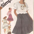 Simplicity 5391 (1981)  Vintage Junior Teens Peasant Top Blouse Skirt Pattern Size 9/10 UNCUT