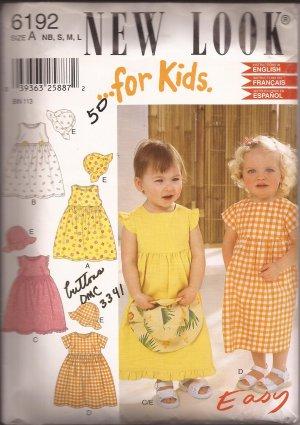 New Look 6192 Infant Toddler Girls Childs Sun Dress Hat Bonnet Cap Pattern Size NB S M L UNCUT