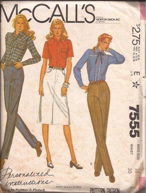 McCalls 7555 (1981) Jean Pants Skirt Pattern Personalized Instructions Size 16 UNCUT