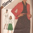 Simplicity 9778 (1980) Pullover Dress Unlined Cardigan Jacket Pattern Size 18 20 PART CUT