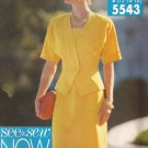 Butterick 5543 (1991) Unlined Jacket Shaped Hemline Sleeveless Dress Pattern Size 12 14 16 CUT