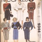 McCalls 9344 (1984) Dolman Sleeve Diagonal Bodice Elastic Waist Belt Pattern Size 14 UNCUT