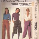 McCalls 7326 (1980) Gathered Waistband Long Skort Harem Pants Pattern Size 14 UNCUT