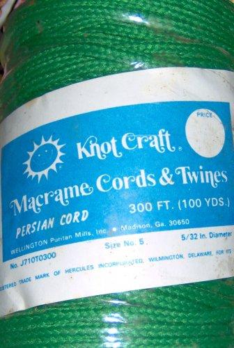 Vintage Knot Craft Herculon Macrame Persian Cord Size 5 5/32 Diameter 100 yards GREEN