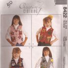 McCalls 8422 (1996) Childs Girls Vest Christmas Halloween Winter Applique Pattern Size 3 4 XS UNCUT