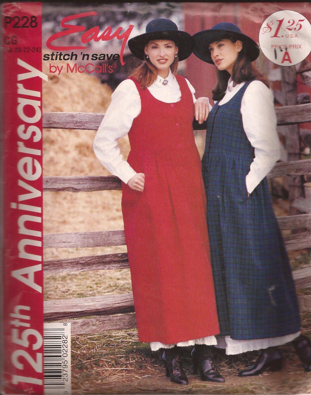 McCalls P228 (1995) Jumper Dress Petticoat Pattern Size 18 20 22 24 UNCUT