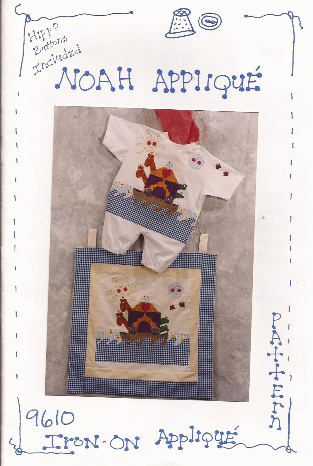 Alice & Her Mother Noah Iron-On Applique Pattern 9610 UNCUT