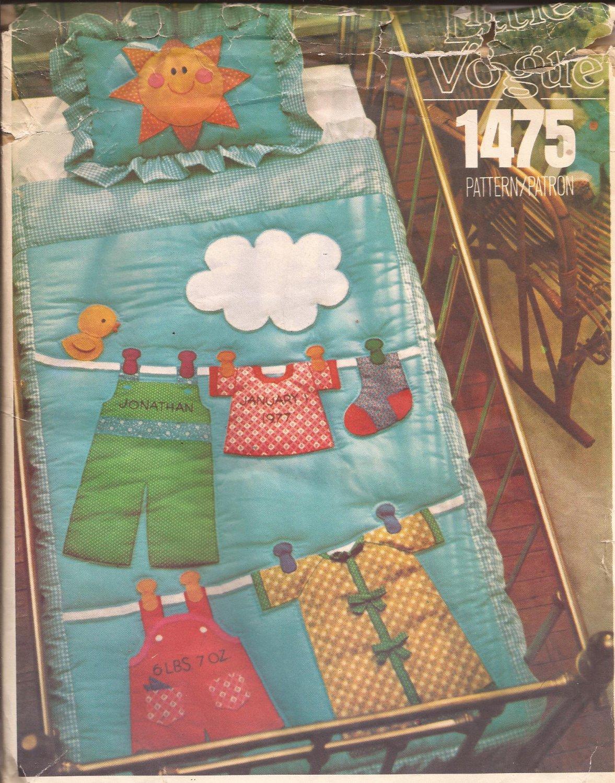 Vintage Little Vogue 1475 Crib Quilt Pillow Sham Pattern UNCUT